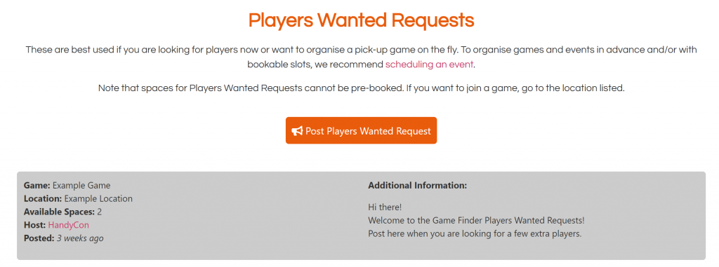 Players Wanted Requests List